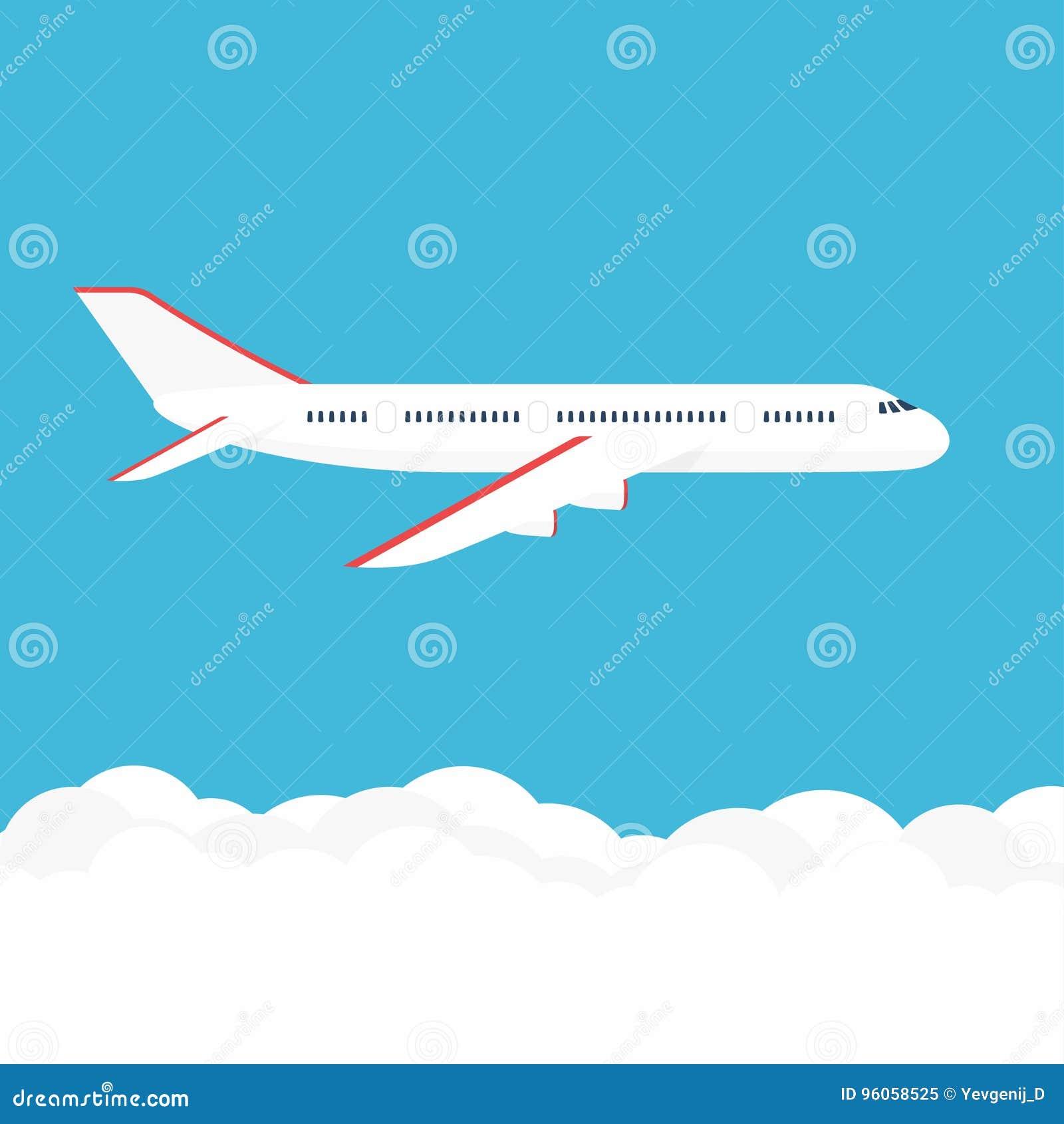 Avion dans le ciel Avion commercial dans la vue de côté
