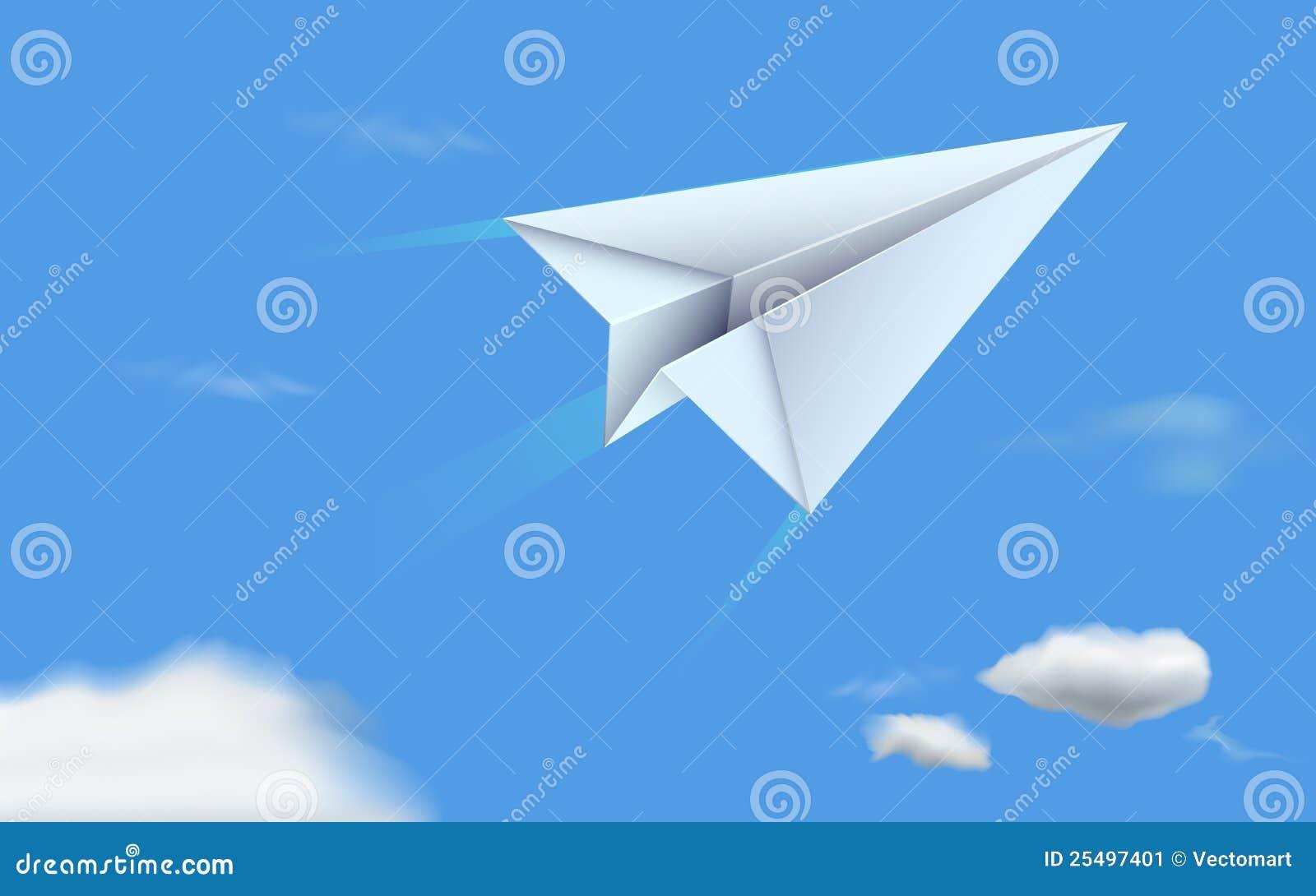 avion de papier en ciel illustration de vecteur illustration du libre 25497401. Black Bedroom Furniture Sets. Home Design Ideas