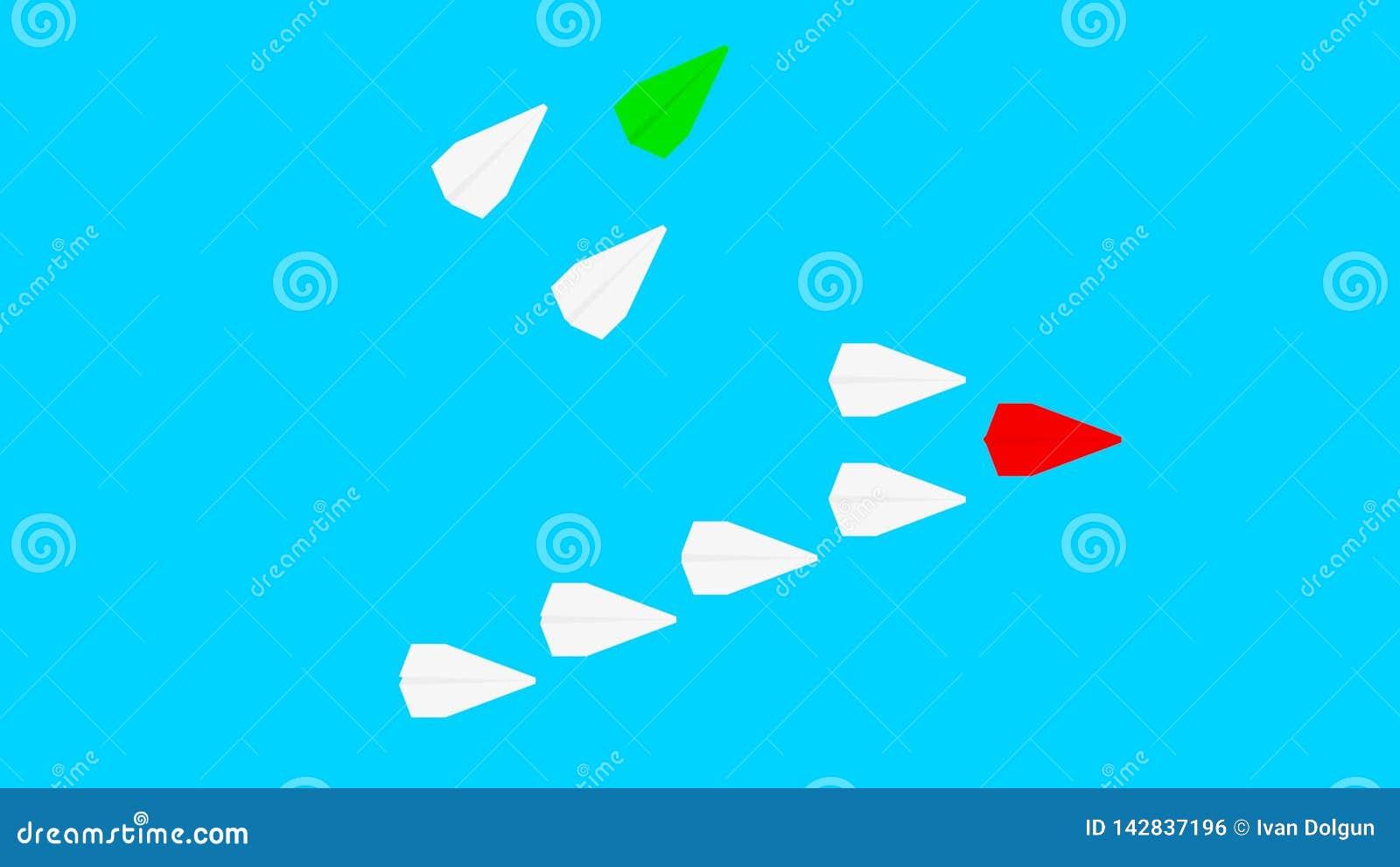 Avion de papier rouge et beaucoup d avions de livre blanc sur le fond de bleu de turquoise Concept de direction, de travail d équ