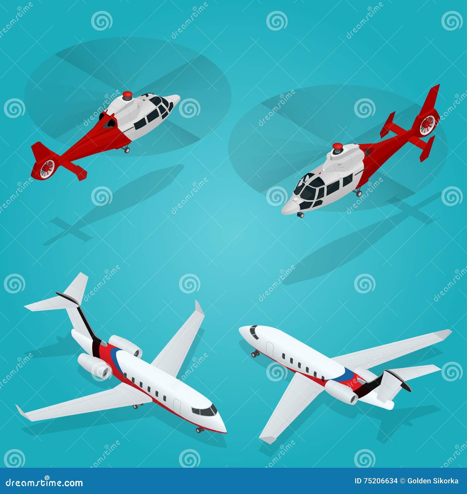 Avion de passager Avion à réaction privé Hélicoptère de passager Transport isométrique Véhicule d avions Transport d air