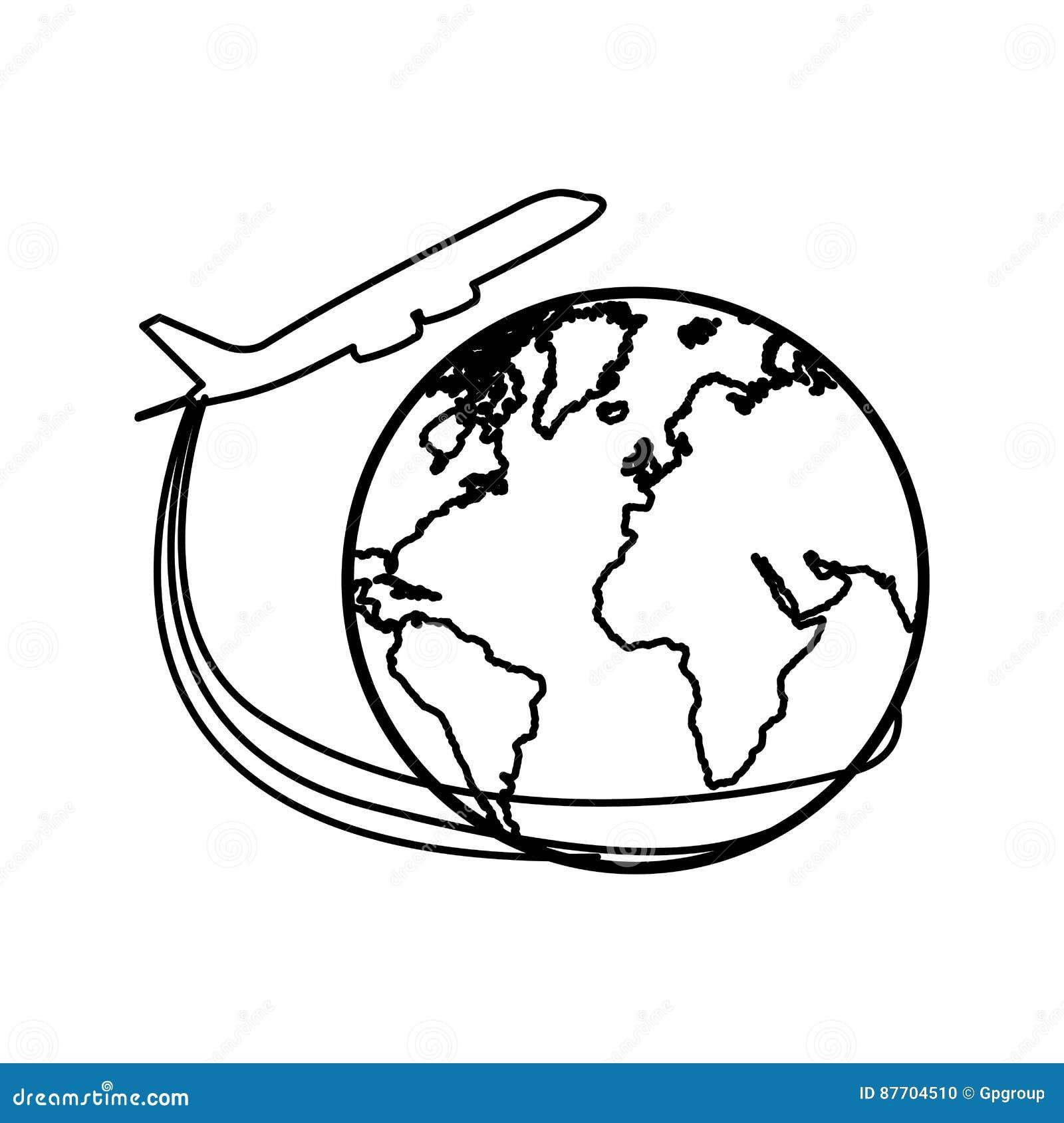Avion de silhouette autour d icône du monde de la terre