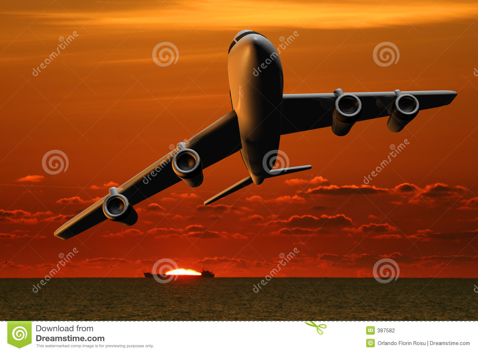 Avion et bateau au coucher du soleil