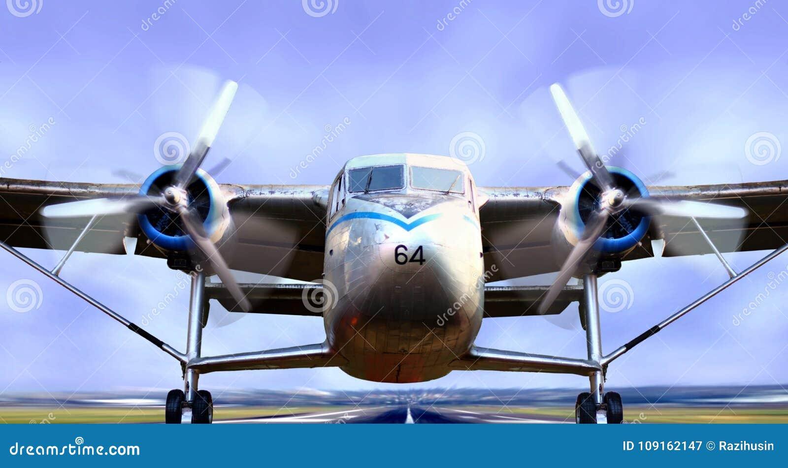 Avion sur le décollage de piste