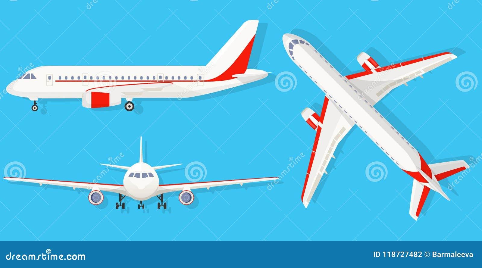 Avion sur le fond bleu dans le point de vue différent Avion de ligne dans le dessus, côté, vue de face Style plat