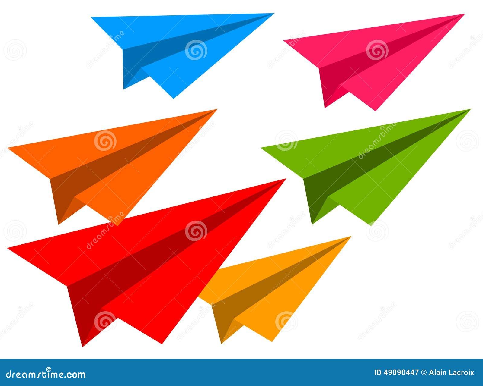 Aviones de papel del color stock de ilustración. Ilustración de ...