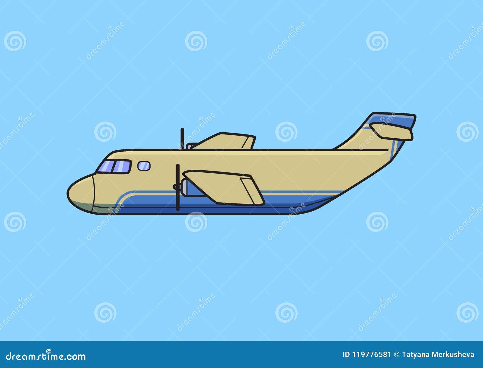 Aviones del transporte, aeroplano del cargo Ejemplo plano del vector Aislado en fondo azul