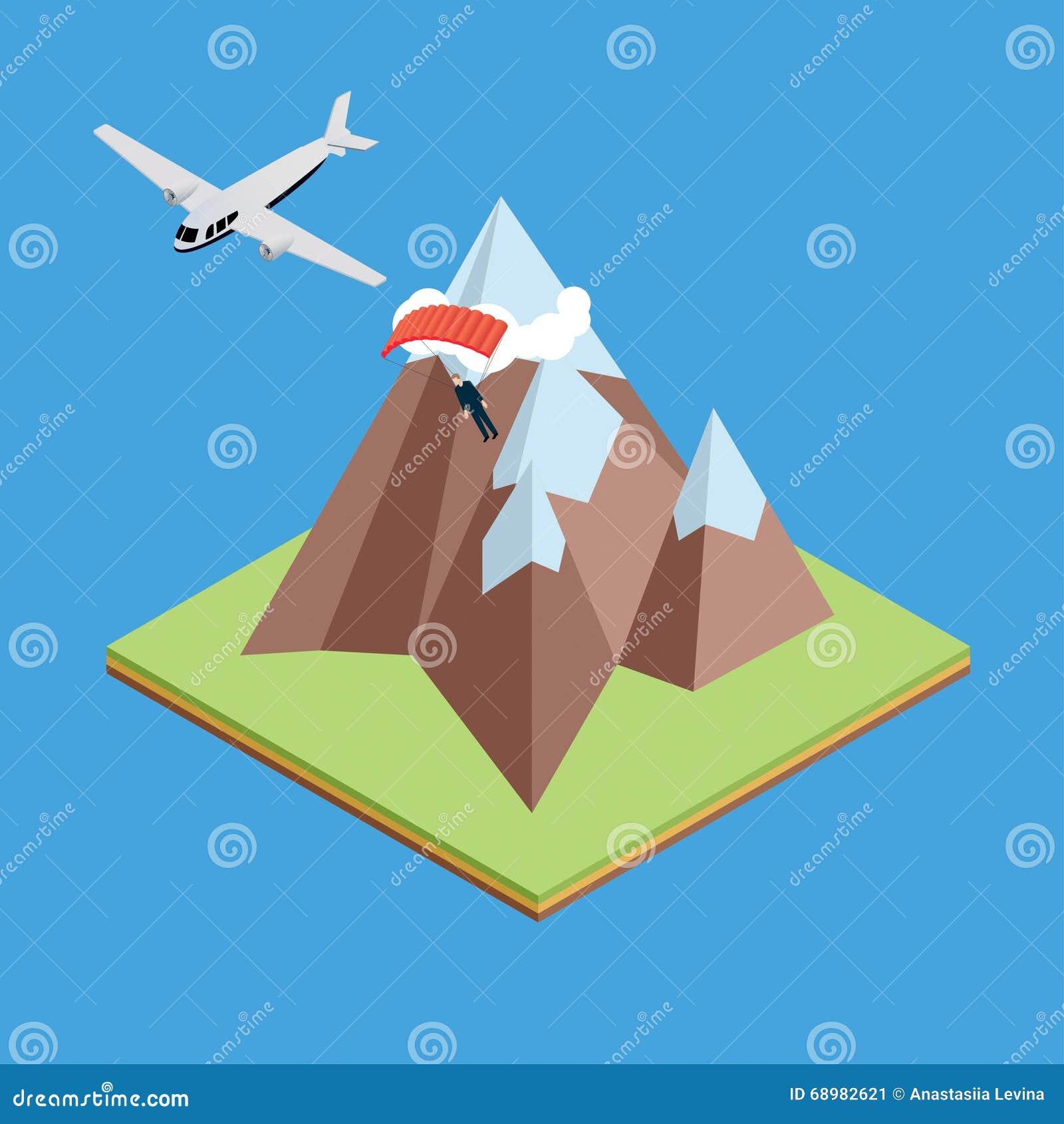 Aviones en montañas con el paracaidista