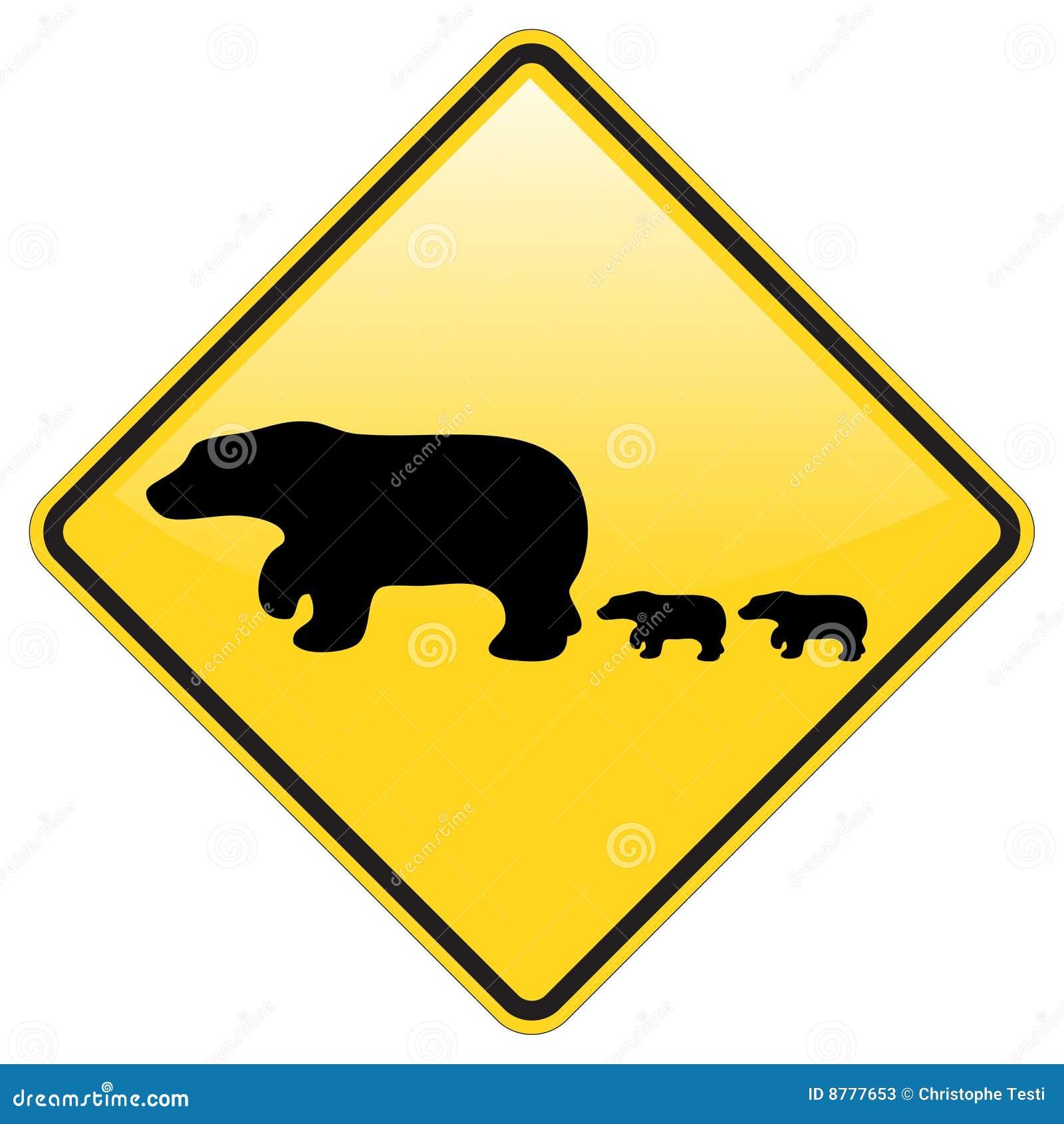 Aviso do cruzamento do urso