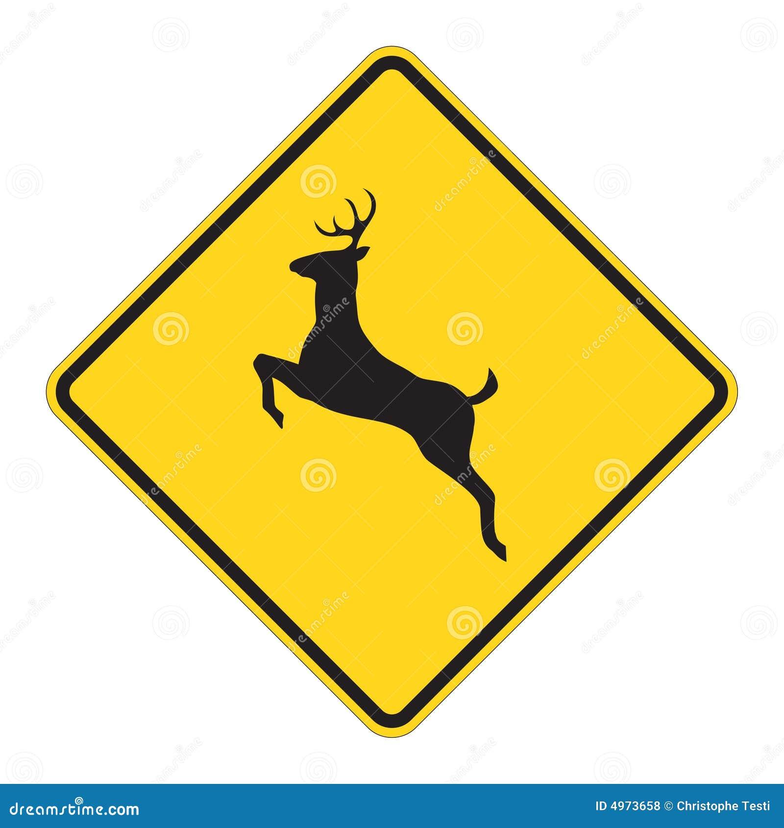 Aviso do sinal de estrada - cervo