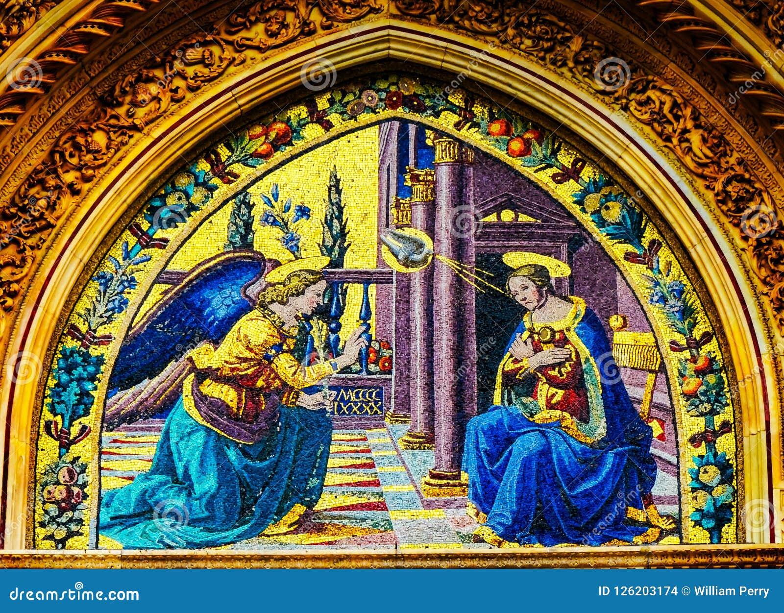 Aviso Mary Angel Mosaic Duomo Cathedral Facade Florença mim