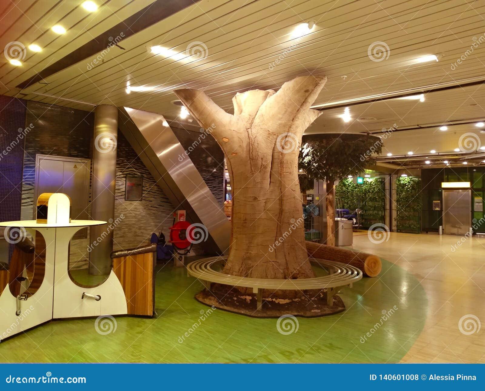 Avkopplingområde som vilar inom den shipholamsterdam flygplatsen dekoren återkallar och inspireras av skogen, skogen och pur