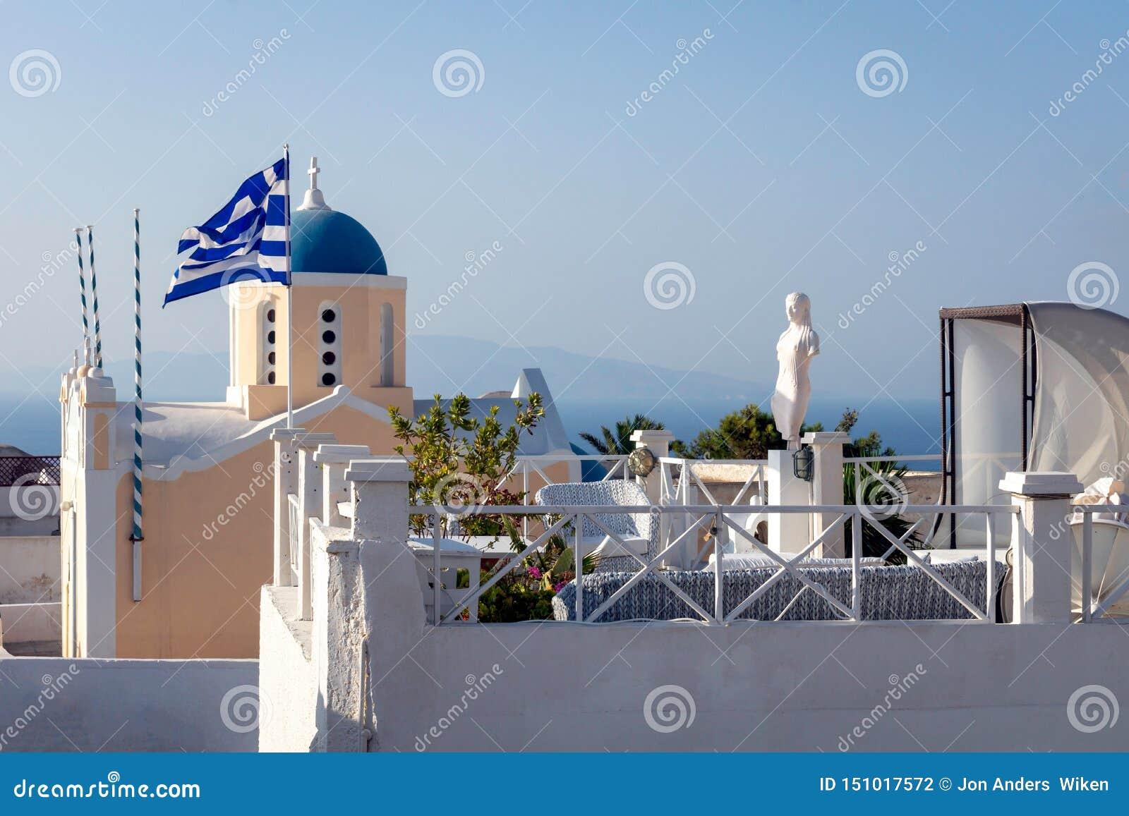 Avkopplingzon på hotellet i Oia, Grekland