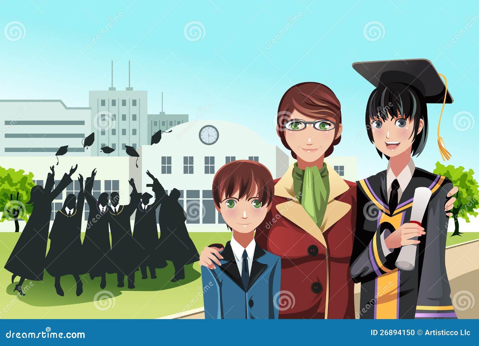 Avläggande av examenflicka med modern och brodern