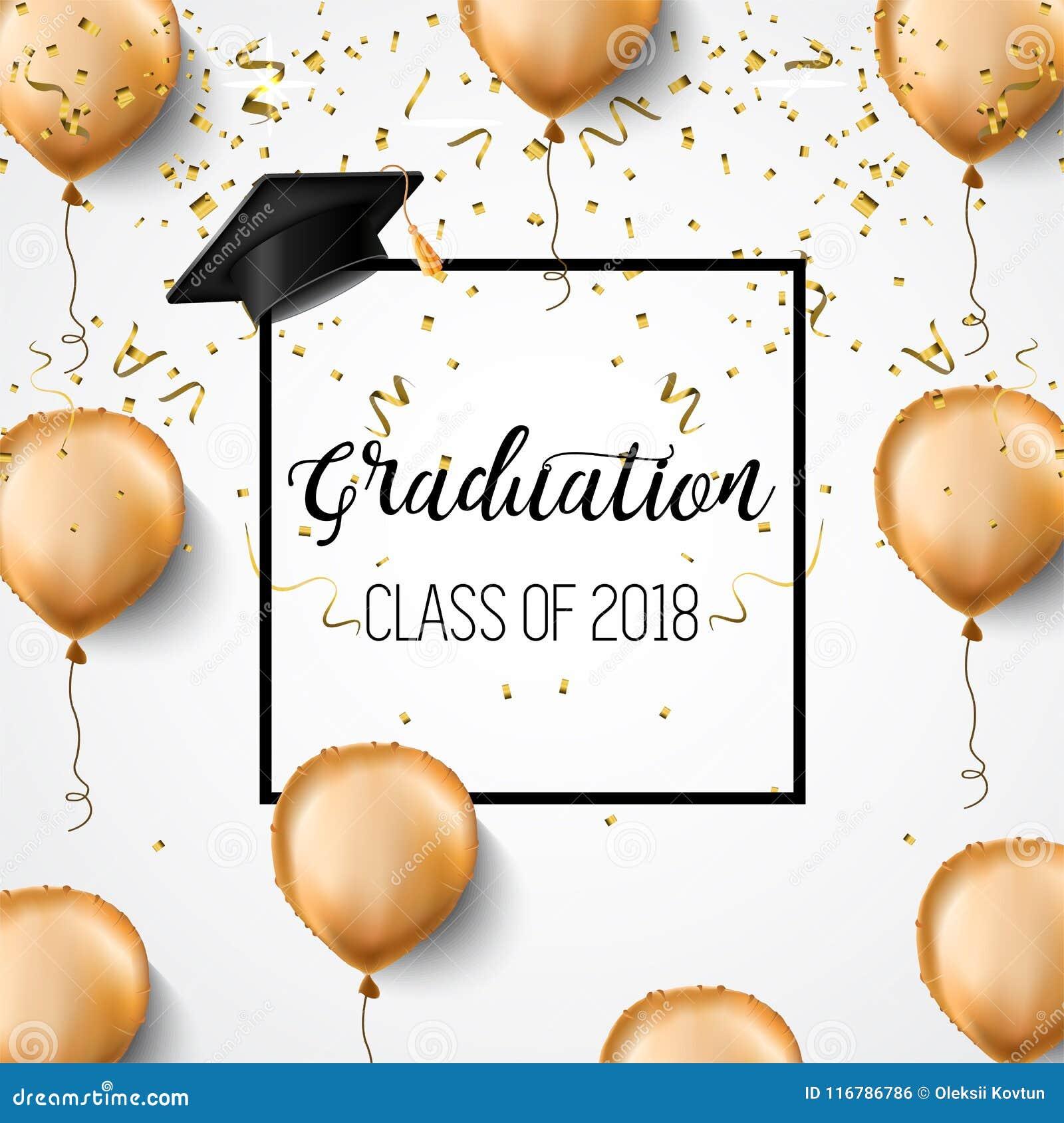 Avläggande av examengrupp av 2018 Lyckönskankandidater Akademiska hattar, konfettier och ballonger Beröm