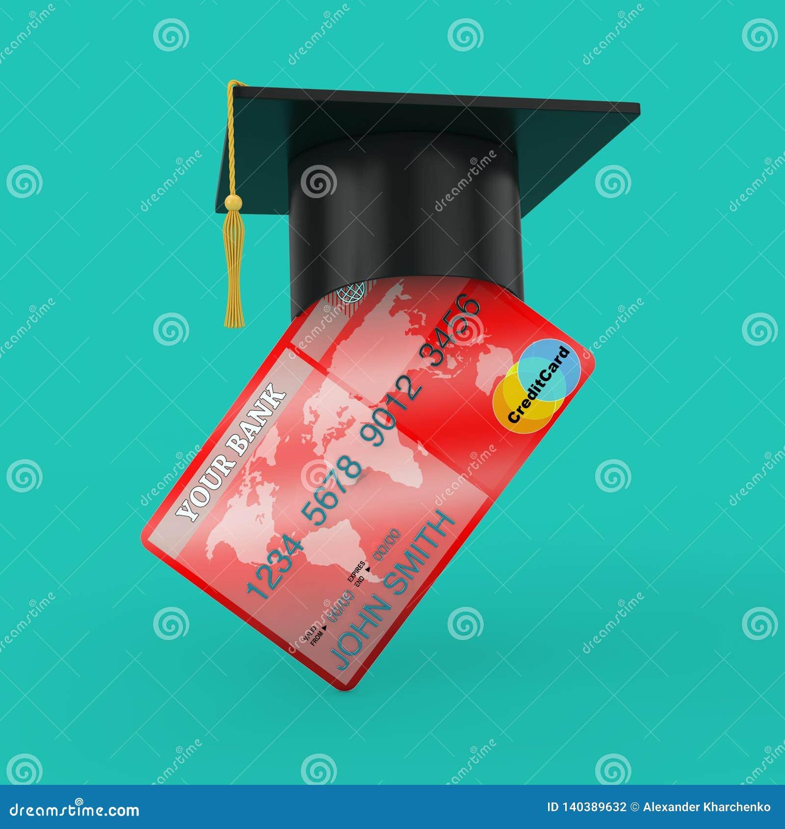 Avläggande av examenhatt över kreditkort framförande 3d