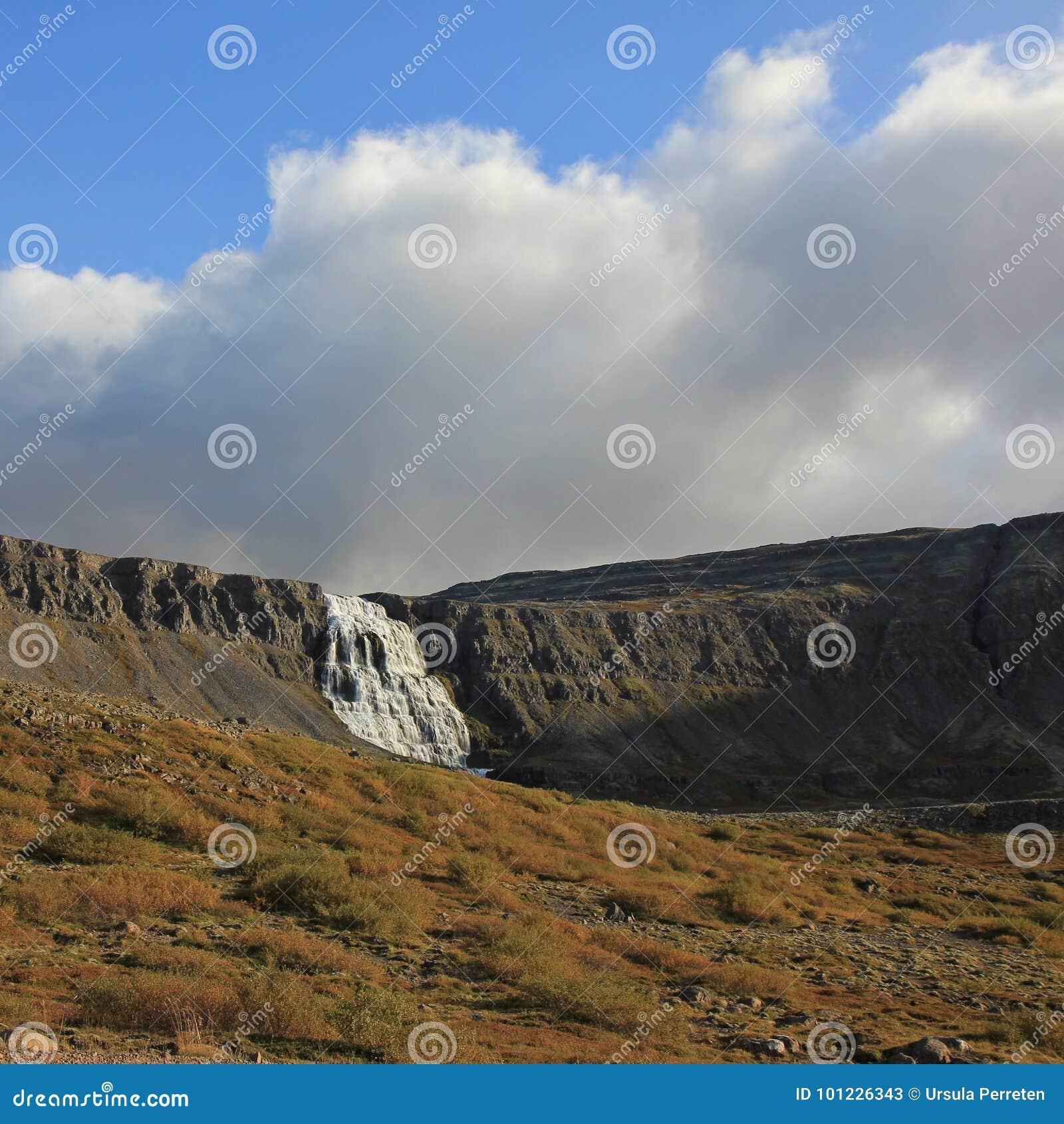 Avlägsen sikt av Dynjandien, berömd vattenfall i westfjordsna