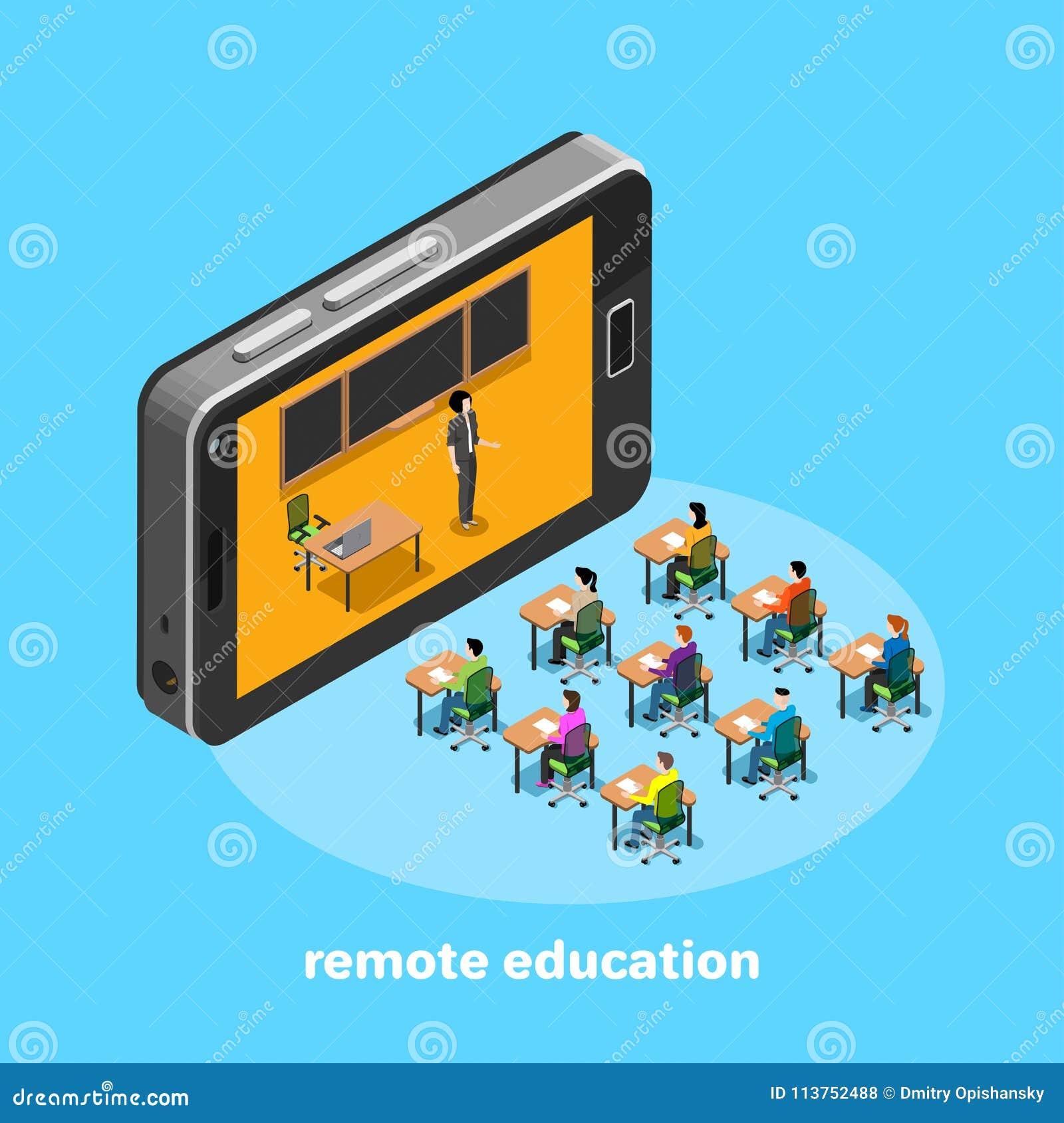 Avlägsen utbildning via internet genom att använda modern utrustning, studenter sitter på skrivbord, och läraren talar ut ur smar