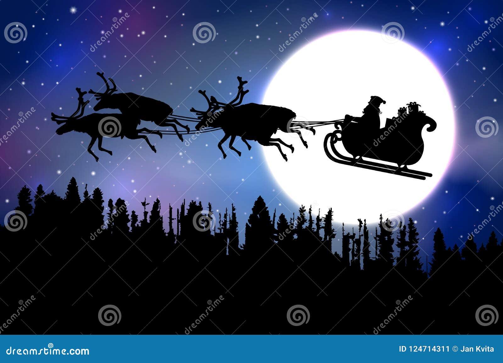 Avla Christmas som framme rider hans släde med renen över en skog av en fullmåne på blå stjärnklar himmelbakgrund
