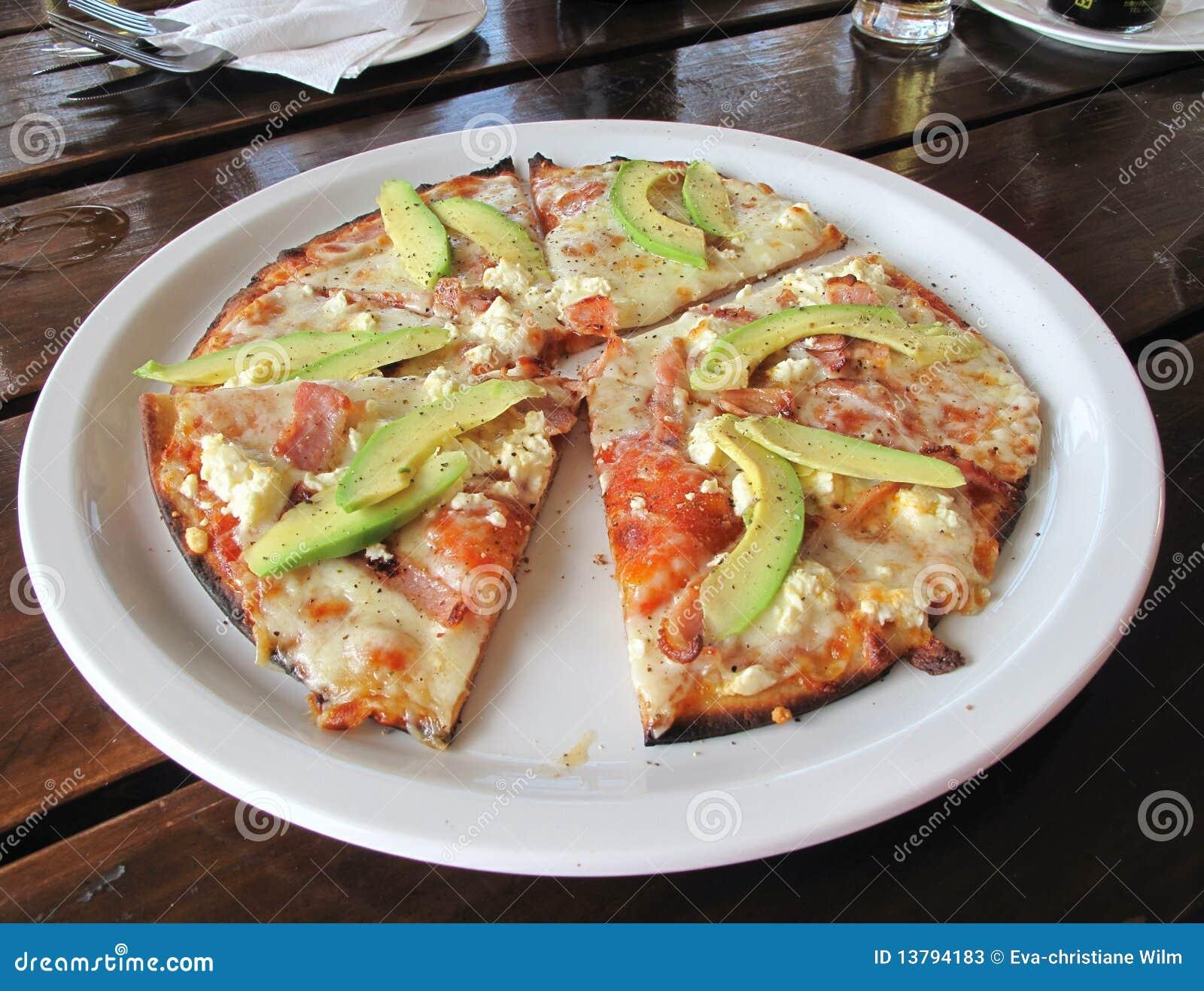 Avo, Bacon And Feta Pizza Stock Photos