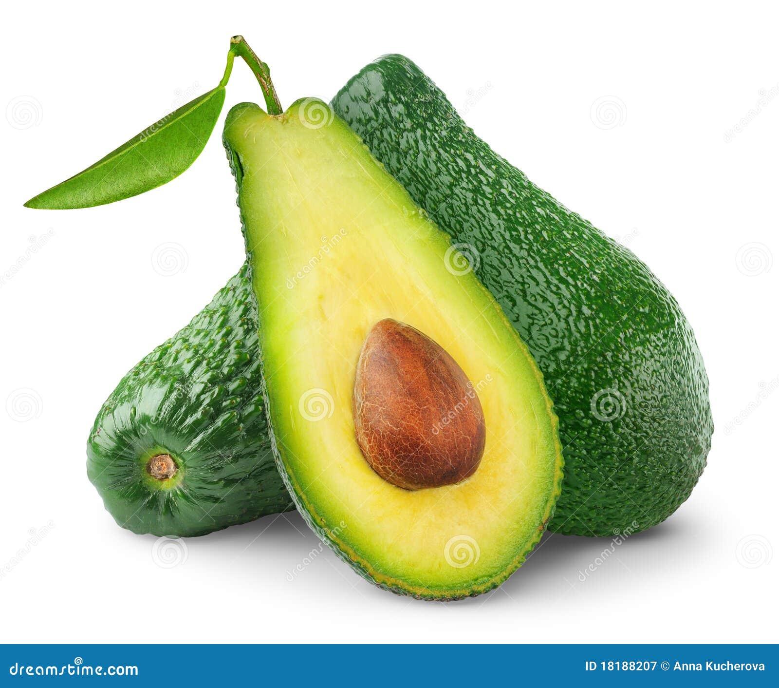 Isolated avocado fruits