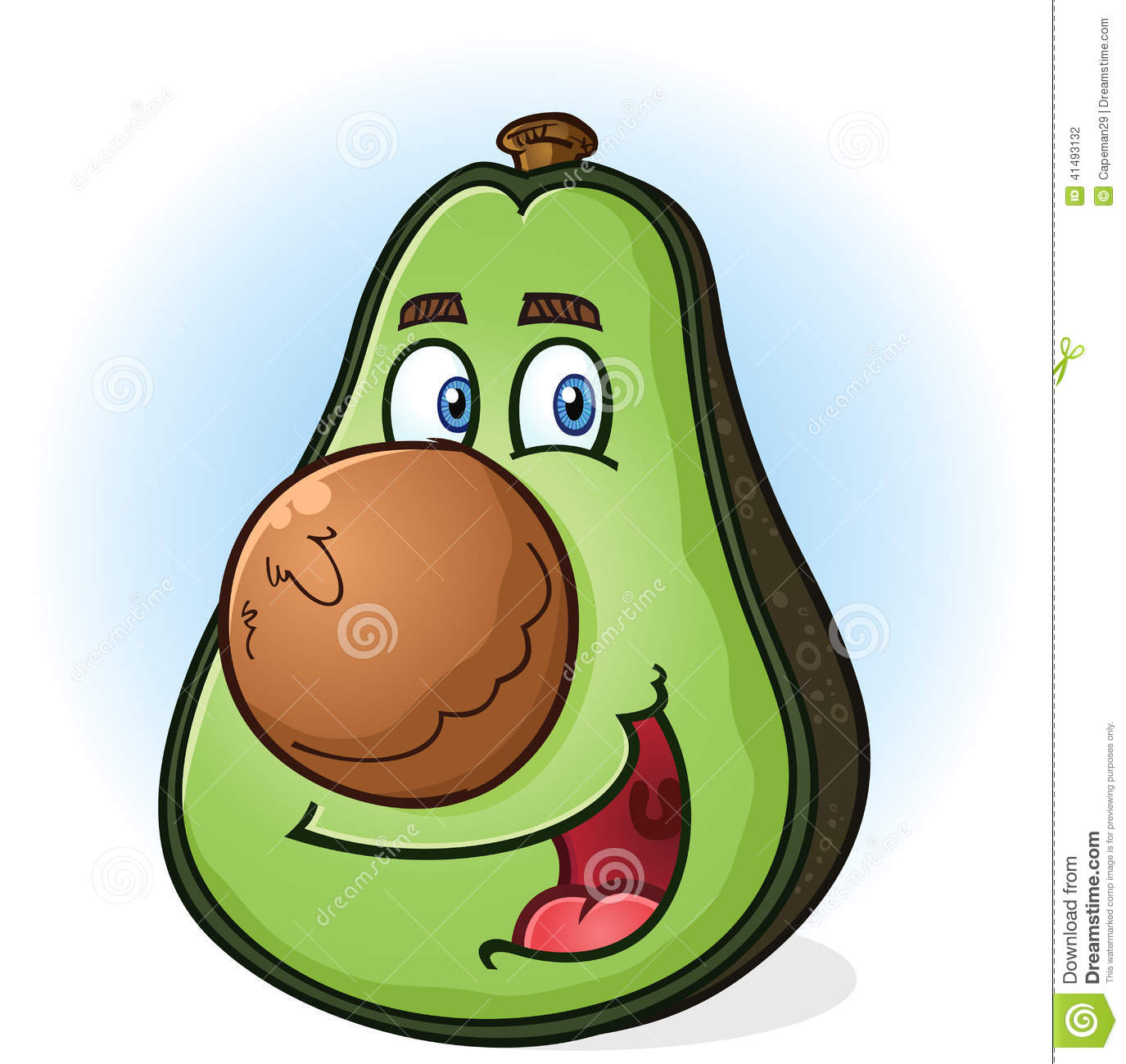 ... green avocado cartoon character with a big round pit for a nose