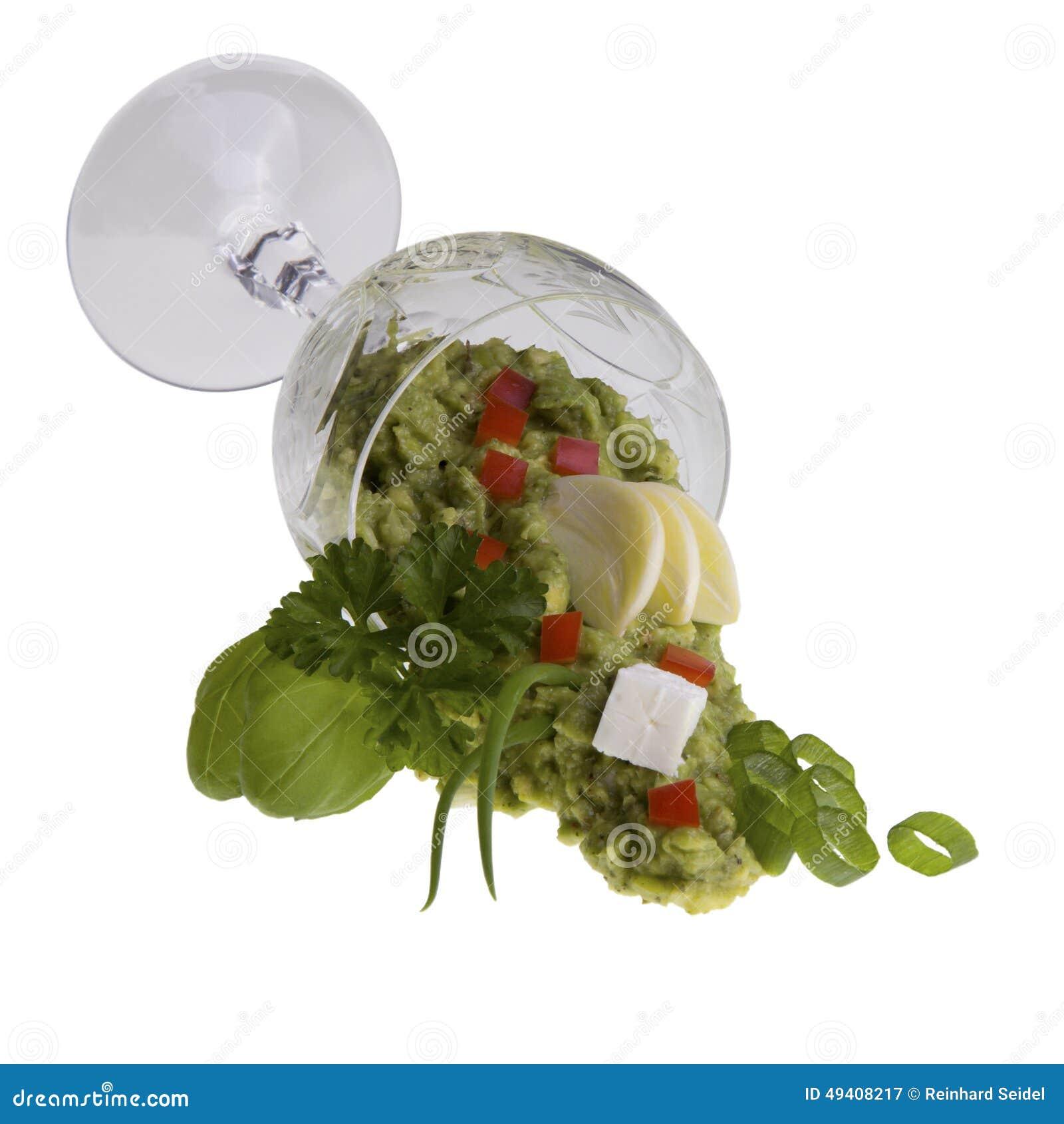 Download Avocado-Creme In Lügenweinglas Stockbild - Bild von petersilie, frucht: 49408217