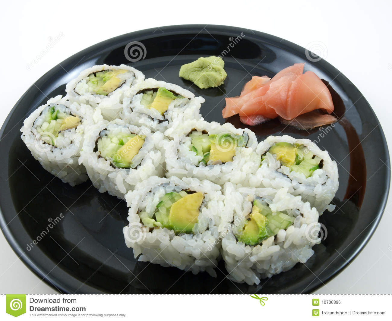 Avocado and Cucumber Roll stock photo. Image of vegetable ...