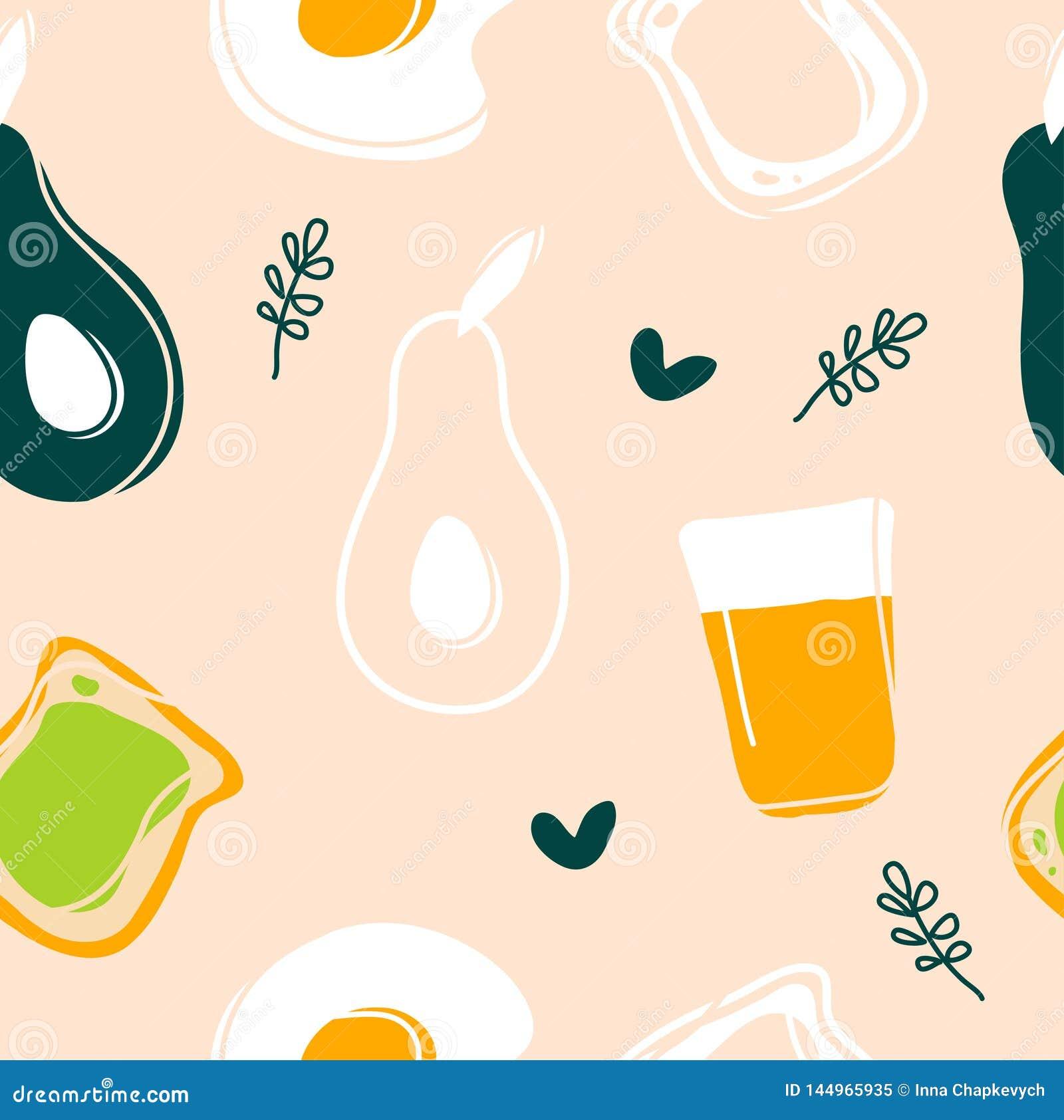 Avocado,fried egg,toast and juice seamless pattern