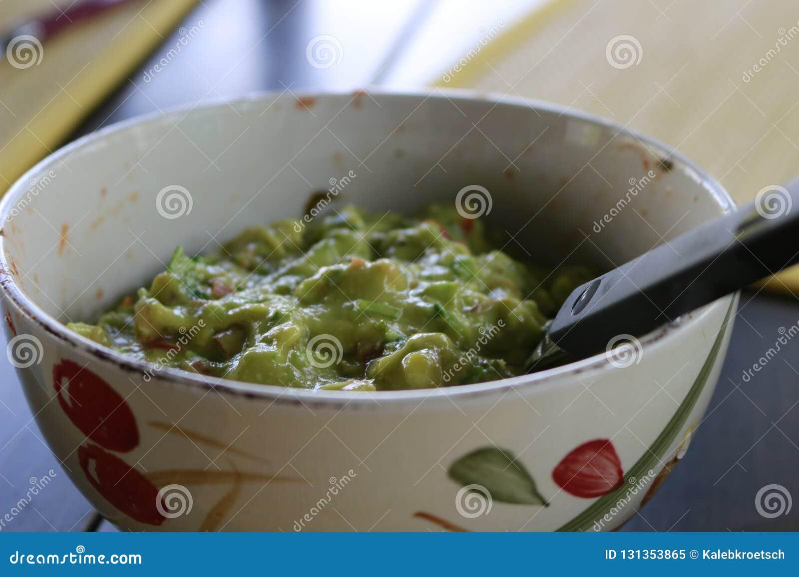 Avocado Guacamole On Molcajete Real Mexican Traditional