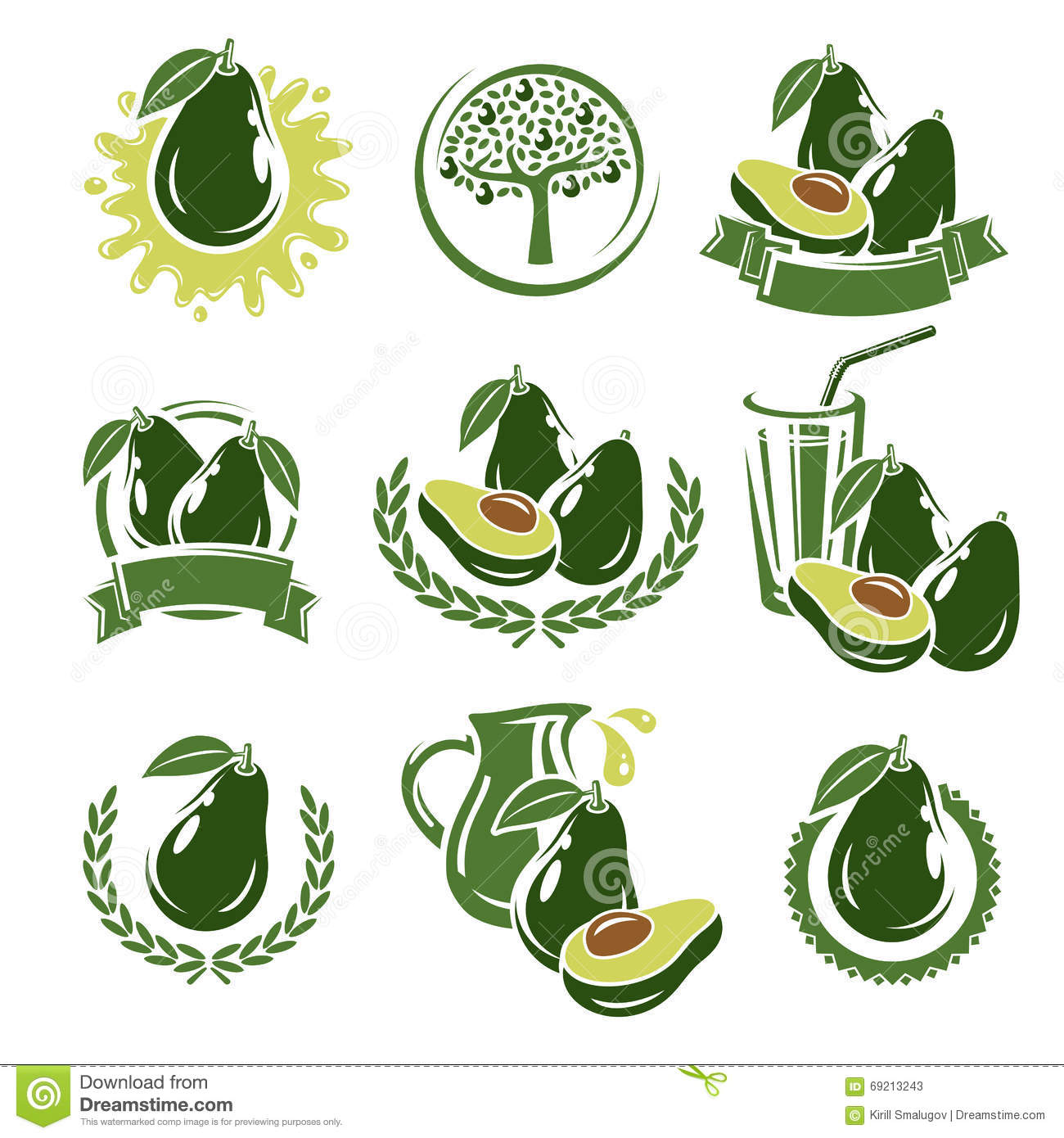 Flat Cute Avocado And Half With Seed Vector Illustration