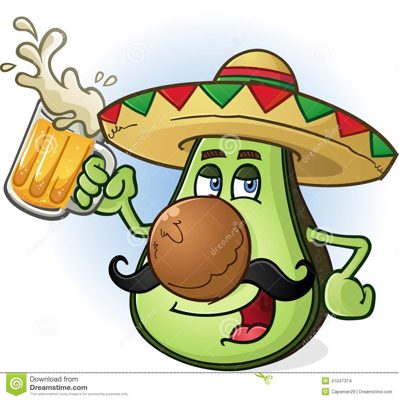 Stock Vector  Avocado Mexican Cartoon Character Drinking BeerMexican Cartoon Character