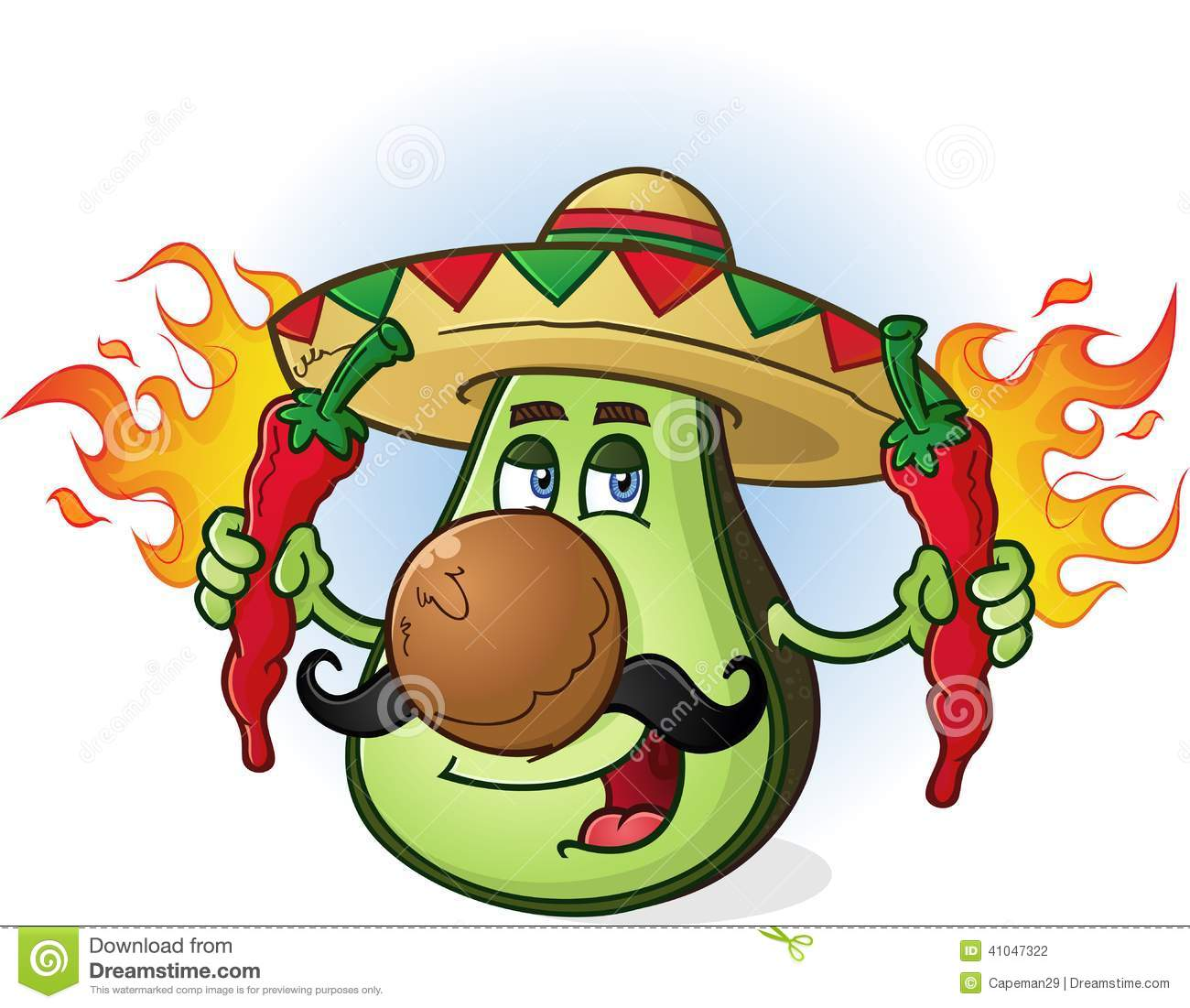 Mexican avocado cartoon character wearing a sombrero and holding two ...