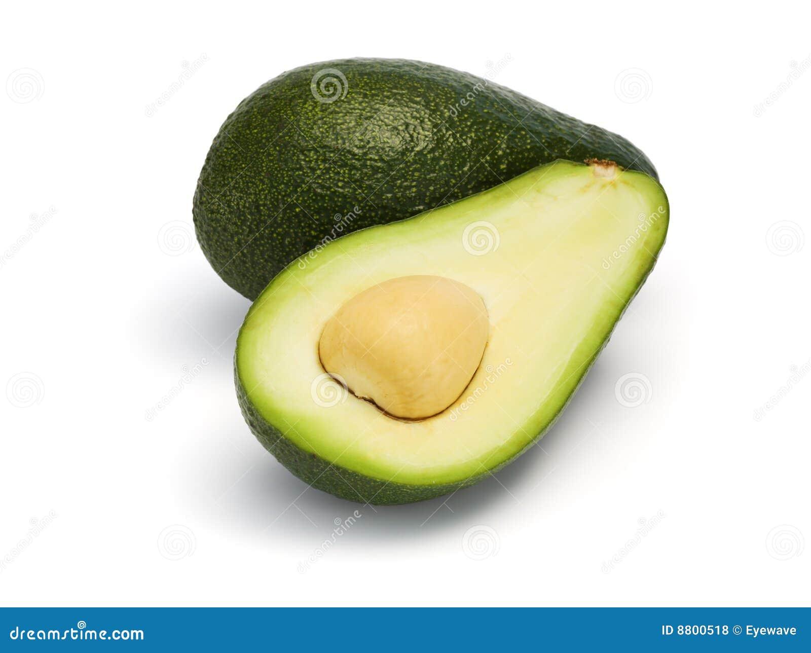 Avocado przekrawający odosobniony cały