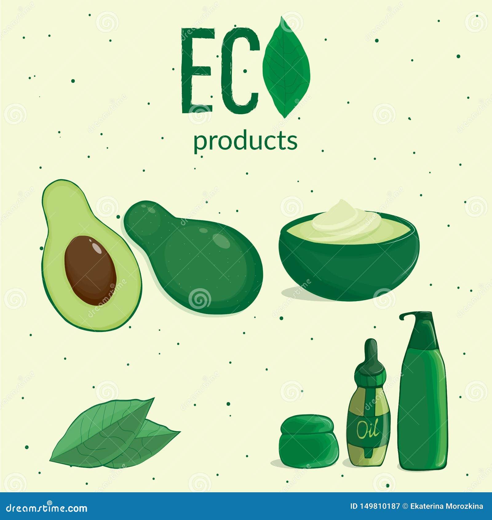 Avocado s in de besnoeiing met kosmetisch containers en gebladerte