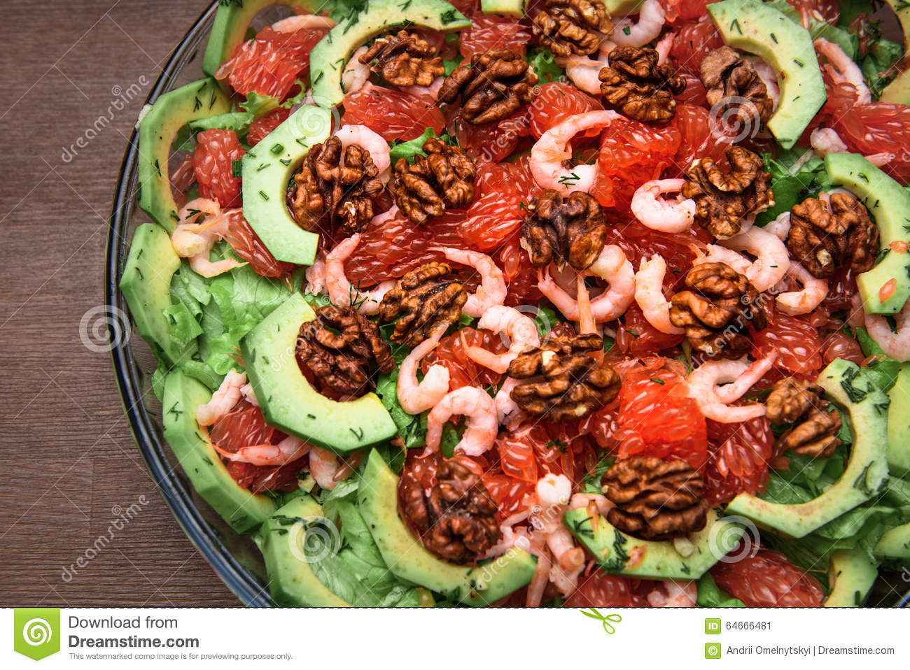 Avocado salad with grapefruit, butter, walnuts and balsamic vinegar.