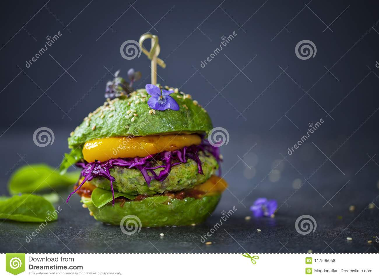 Avocado burger with green patty
