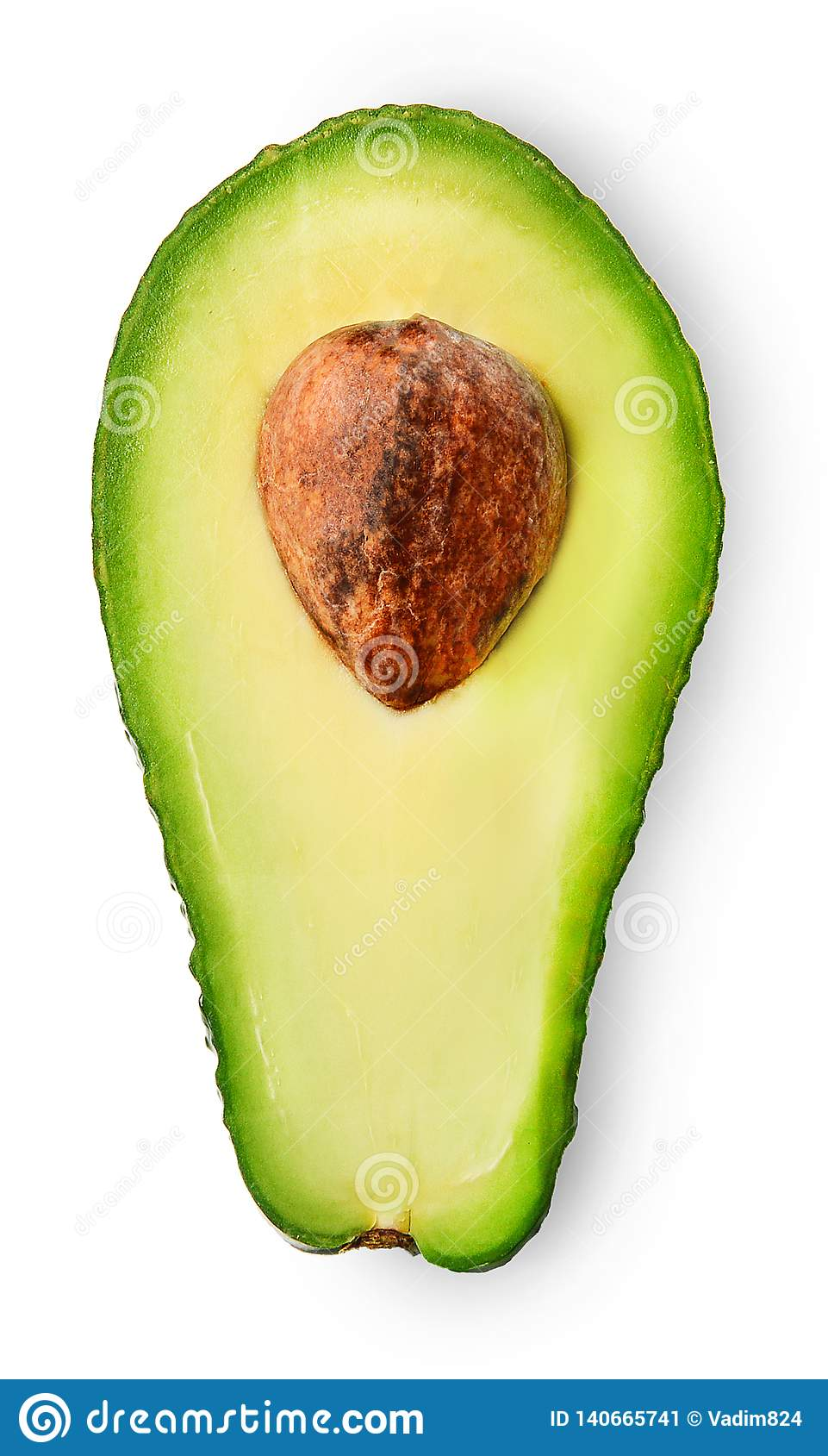 Avocado sliced in half on white isolated background. Close-up.