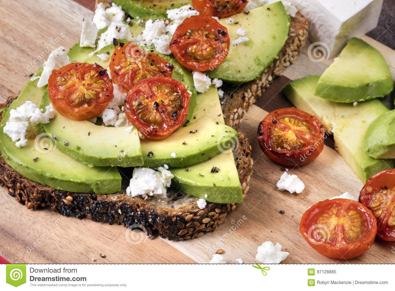 Download Avocado Toast With Cherry Tomatoes And Feta Cheese Stock Image - Image of cheese, roast: 97128885