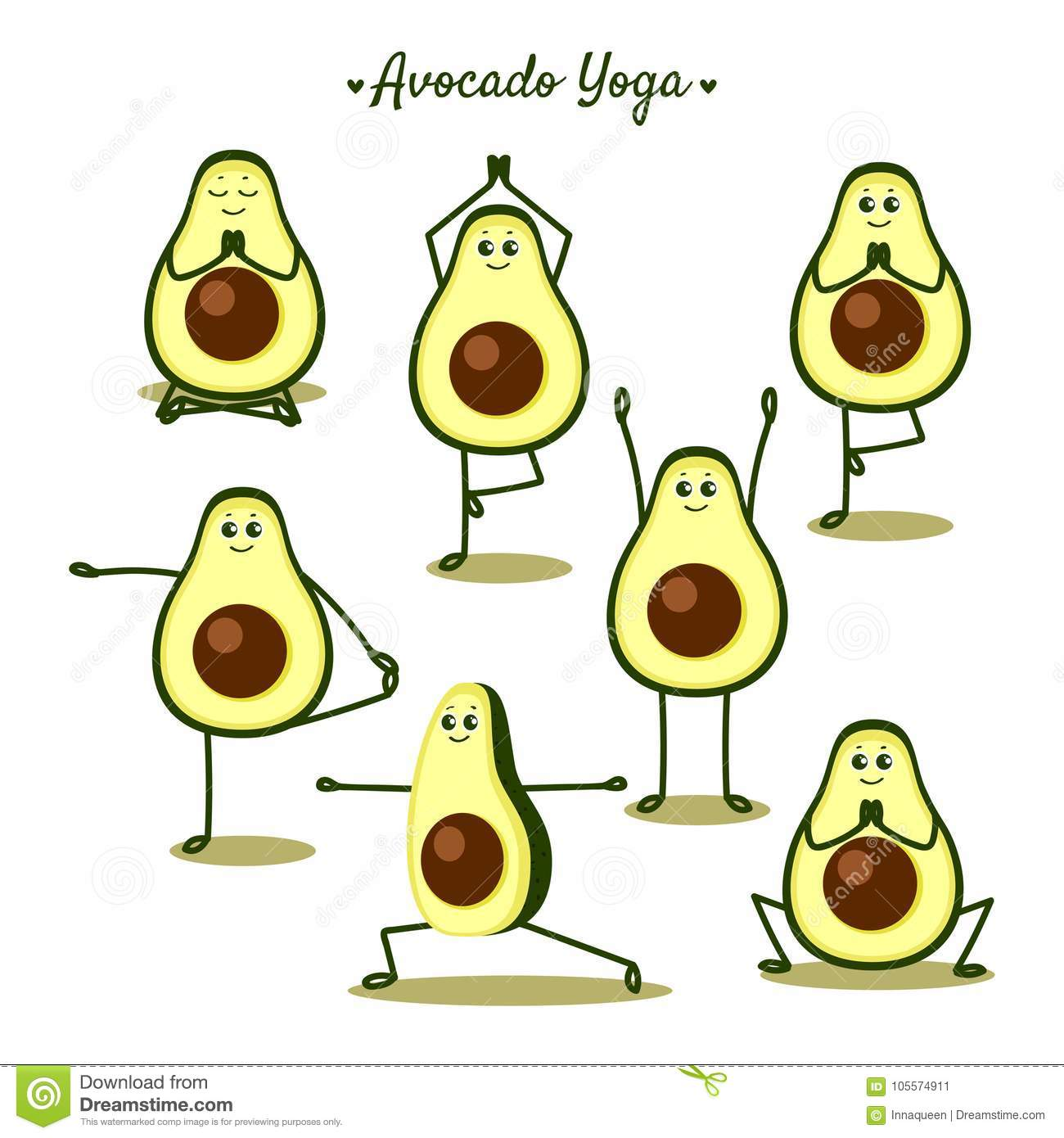 Avocado Yoga Funny Illustration With Poses And Fruits