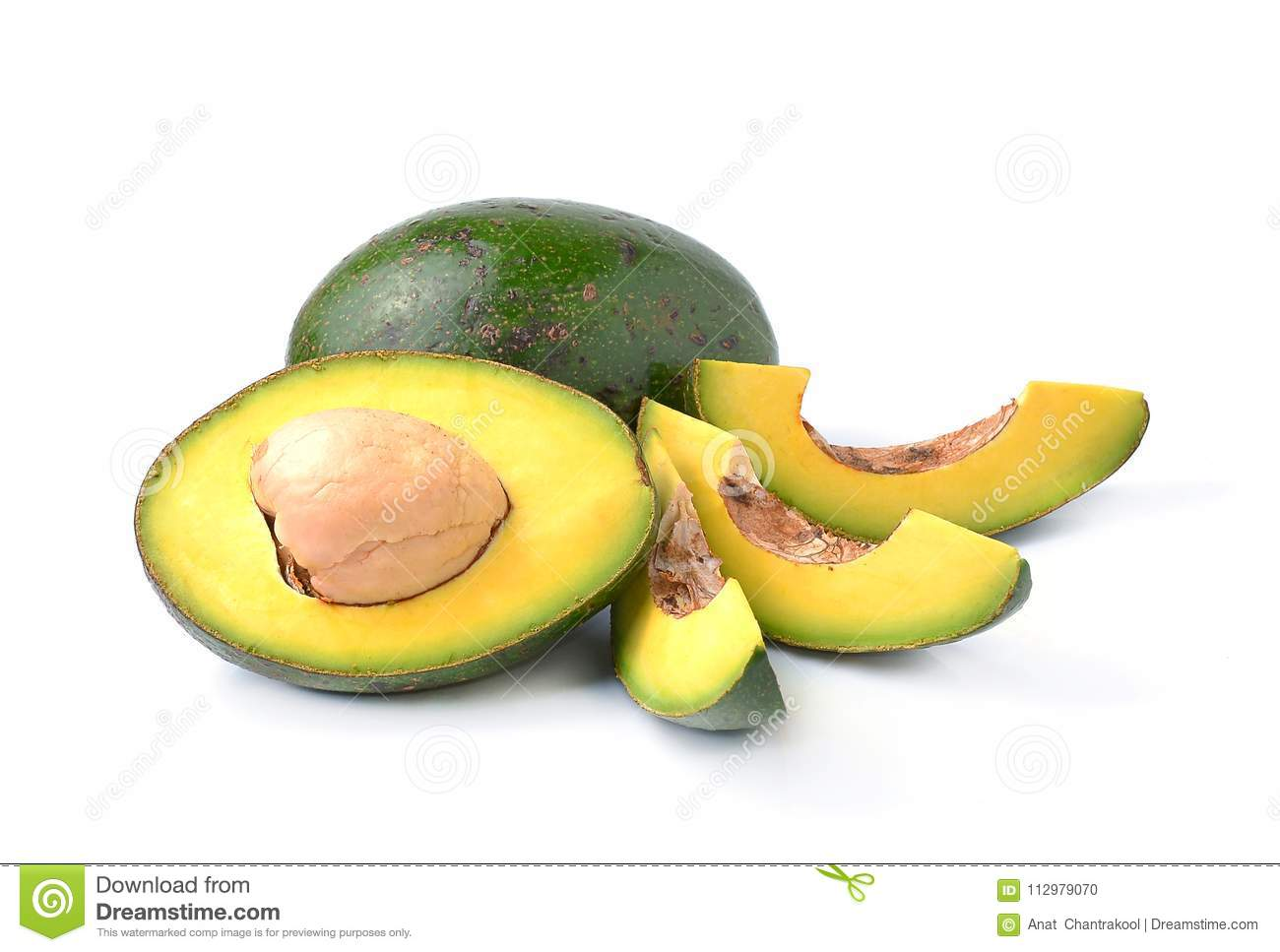 Avocados on a white background