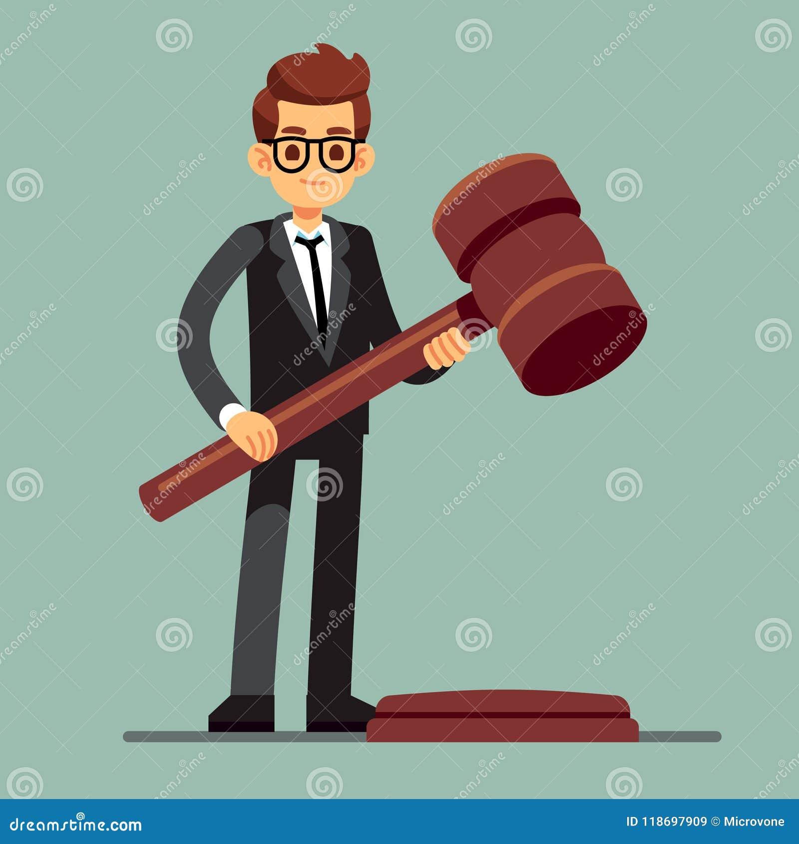 Avocat d affaires tenant le marteau en bois de juge Verdict juridique, concept de vecteur d autorité de législation