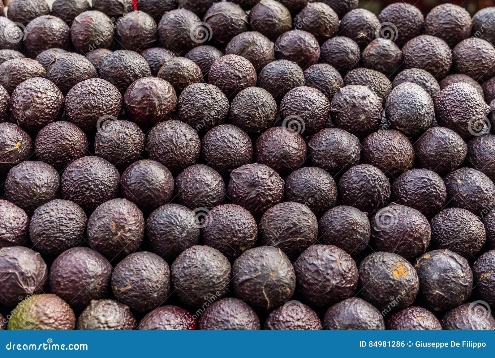 Avokadon på en marknad i Mexico
