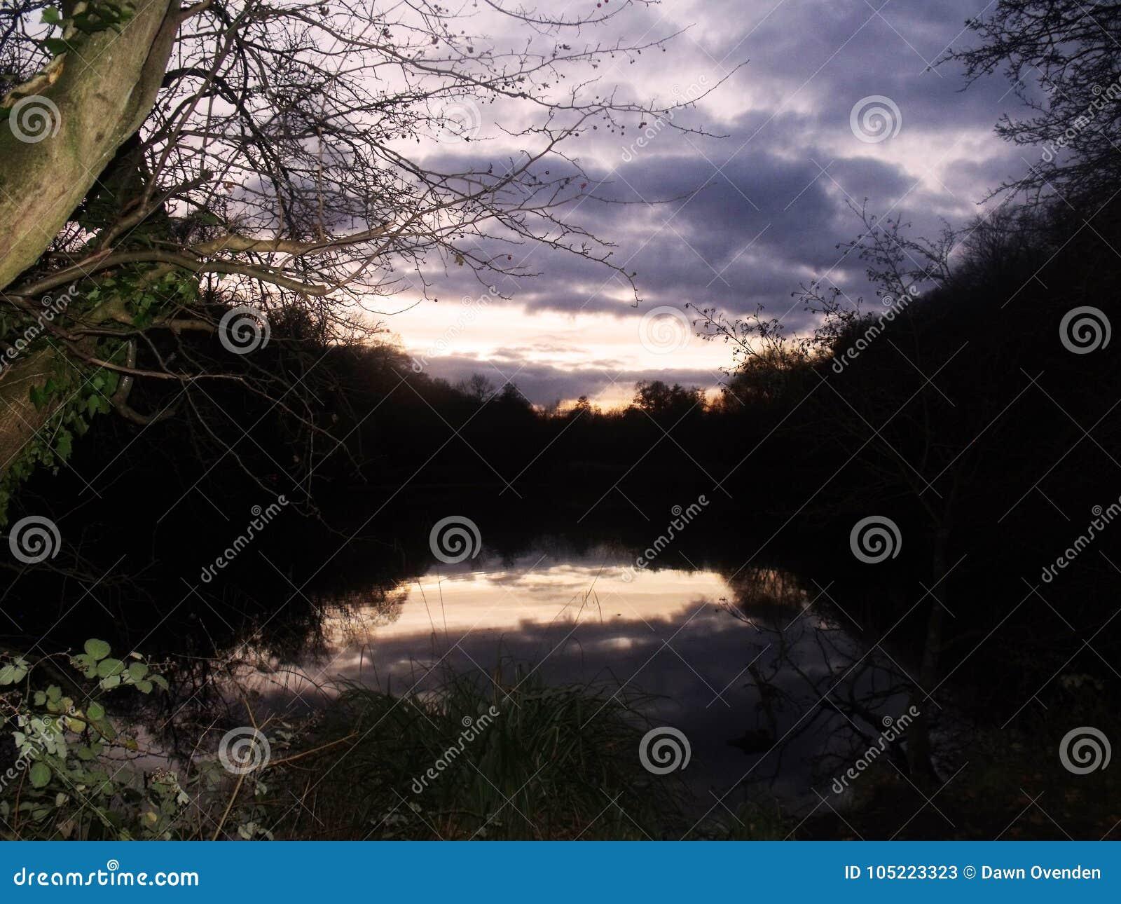 Avondhemel in meer wordt weerspiegeld dat