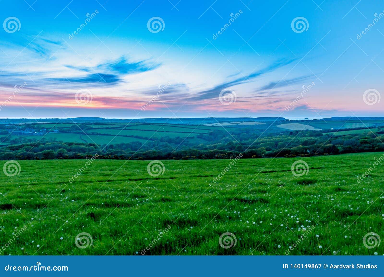 Avondtijd over gebieden van grasss en bomen in Cornwall