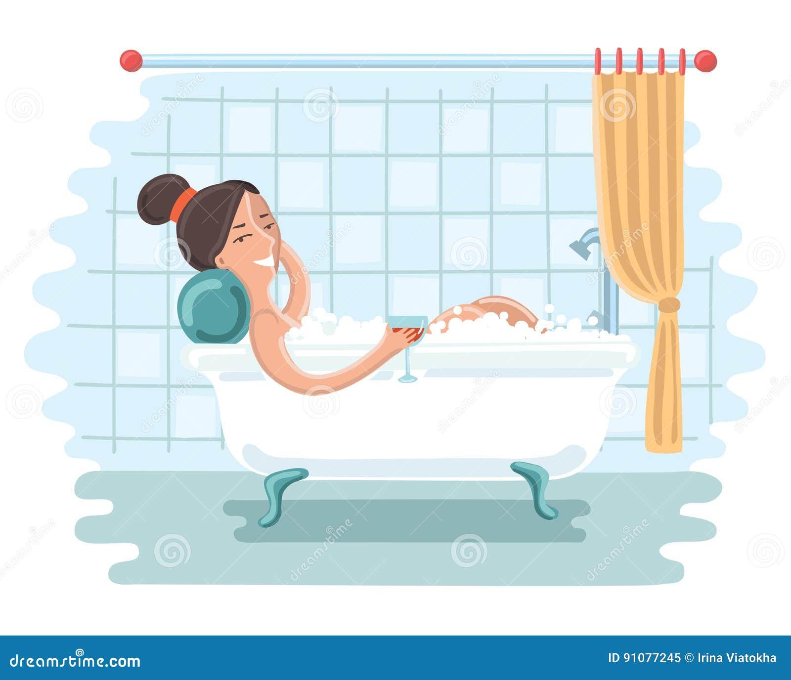 Avslappnande kvinna för badrum