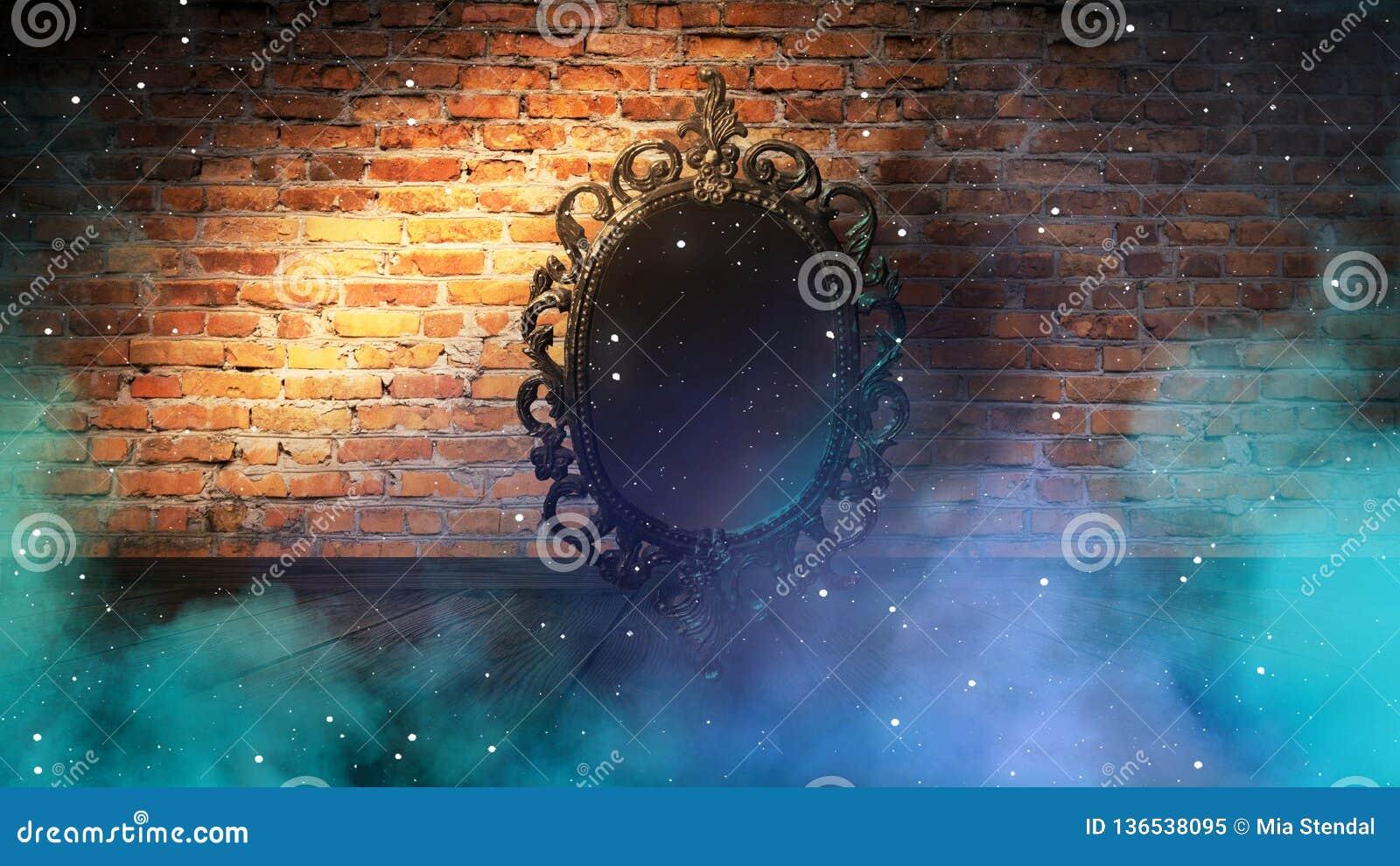 Avspegla magisk, för förmögenhet berätta och uppfyllelse av lust Tegelstenvägg med tjock rök,