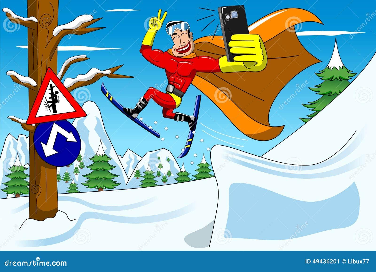 Avvertimento di sci di salto di Supehero Selfie