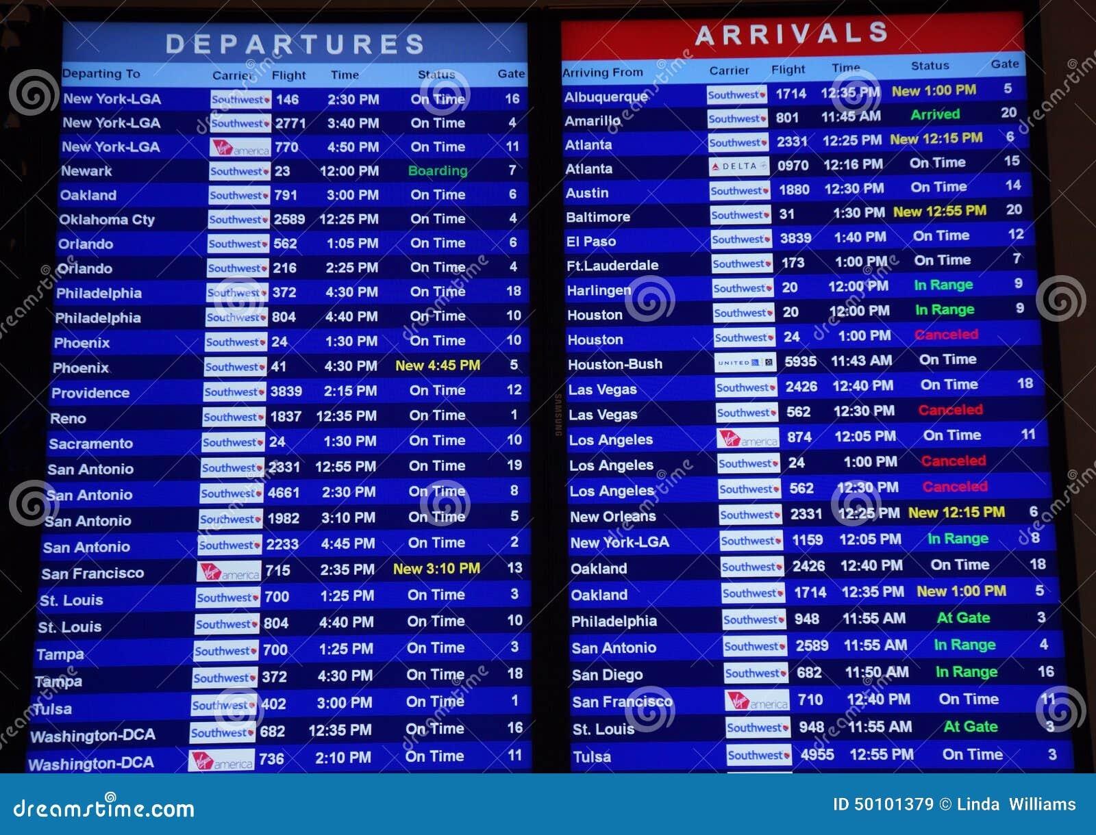Avvikelser och ankomster på den Dallas flygplatsen