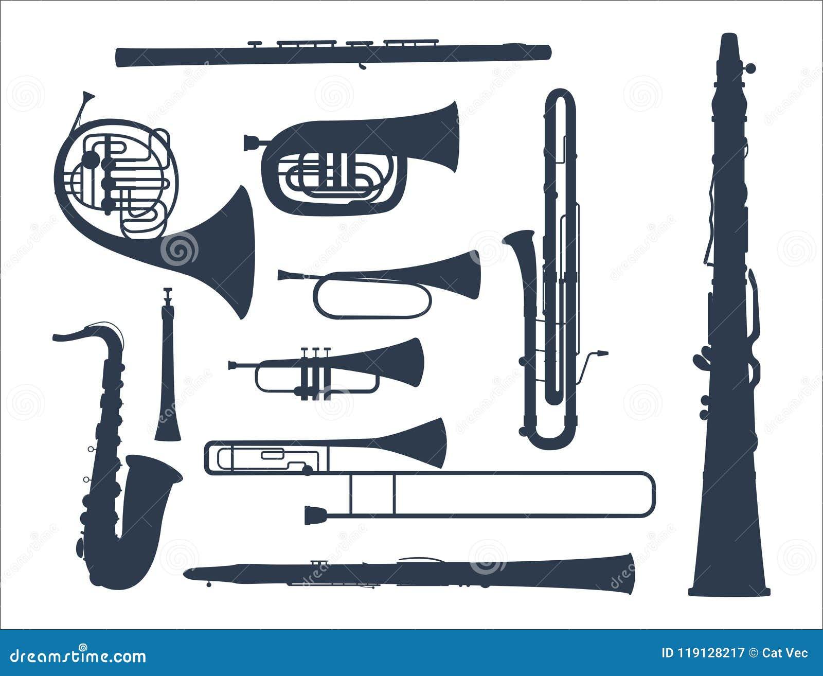 Avvolga l illustrazione acustica di vettore dell orchestra dell attrezzatura del musicista degli strumenti degli strumenti musica