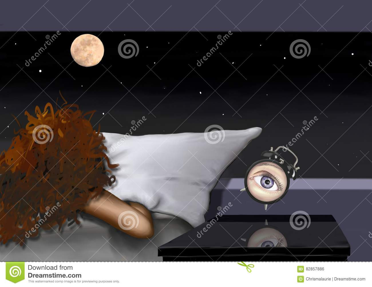 The Awakening Of A Woman In The Moonlight Stock Photo